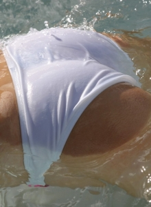 Blonde Teen Tease Skye Is At The Pool In A Sexy Little String Bikini - Picture 9