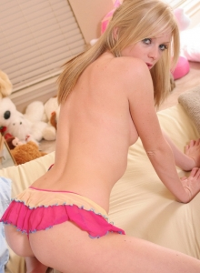Cute Teen Skye Shows Her Tight Round Ass In A Little G-string With Short Skirt - Picture 12