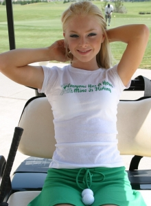 Skye Model Is At The Golf Course Showing Off Her Tight Teen Ass In White Booty Shorts - Picture 1