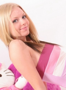 Perfect Blonde Teen Removes Her Cute Thong Exposing Her Perky Teenage Breasts - Picture 2