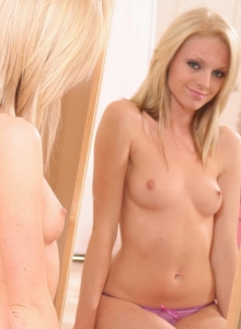 Petite Teen Skye Teases Topless In Just Her Sexy Pink Panties - Picture 1