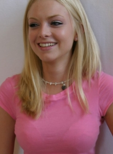 Super Cute Skye Poses For Pictures In A Tight Pink Shirt And Grey Sweat Capris - Picture 10